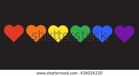 rainbow flag LGBT symbol on heart vector EPS10 - stock vector
