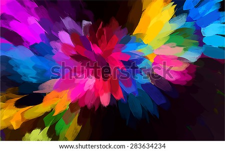 Rainbow flower brush strokes background. Vector version - stock vector
