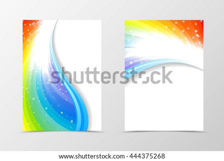 Rainbow flyer template design. Abstract flyer template in rainbow color with blue lines and white stars. Spectrum flyer design. Vector illustration - stock vector