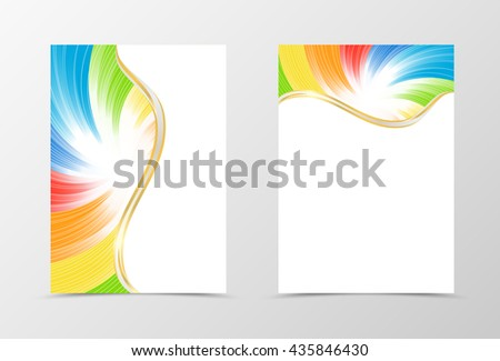 Rainbow flyer template design. Abstract flyer template in rainbow color with white lines. Spectrum flyer design. Vector illustration - stock vector