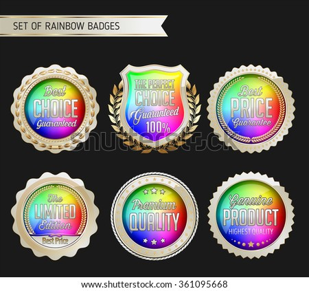 Rainbow Gold and White Badge on Black Background.