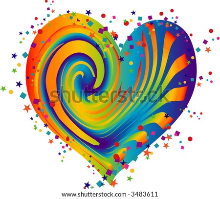 Rainbow Heart - stock vector