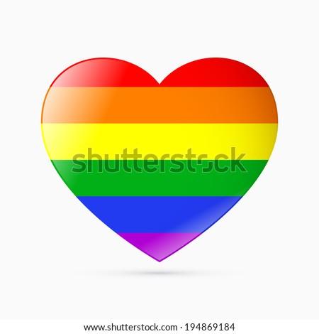 Rainbow heart - symbol of homosexual love - stock vector