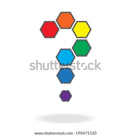Rainbow hexagon question mark ,vector eps10 - stock vector