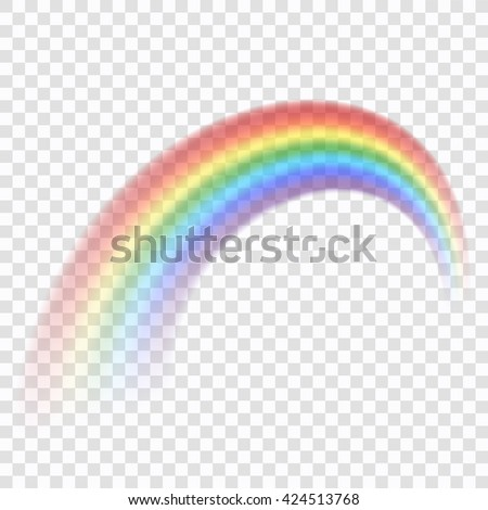 Rainbow icon. Shape arch realistic, isolated on transparent background. Colorful light and bright design element for decorative. Symbol of rain, sky, clear, nature. Graphic object. Vector illustration - stock vector