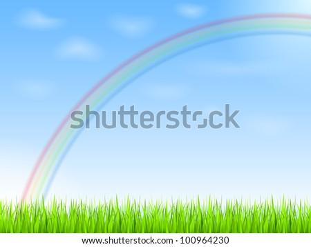 Rainbow in blue sky, vector eps10 illustration - stock vector