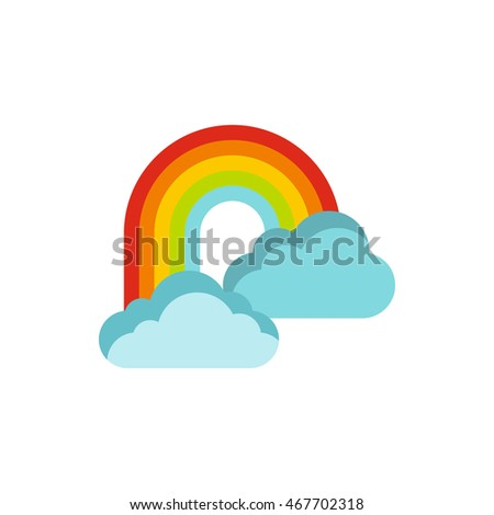 Rainbow in clouds icon in flat style on a white background