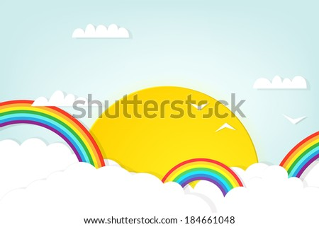 rainbow in the clouds - stock vector