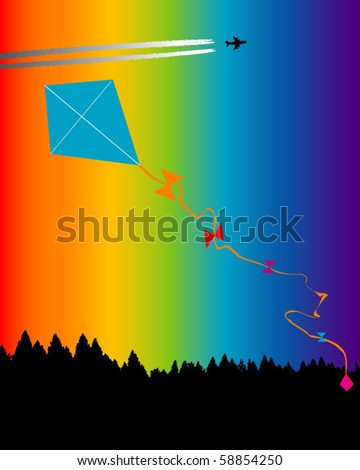 rainbow kite flying in a clear blue sky - similar image with vapor trail in the background also available