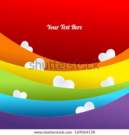 Rainbow layered background with white hearts. - stock vector