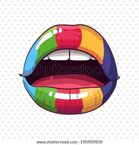 Rainbow lips - stock vector