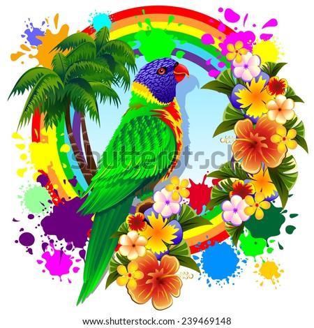 Rainbow Lorikeet Parrot - stock vector