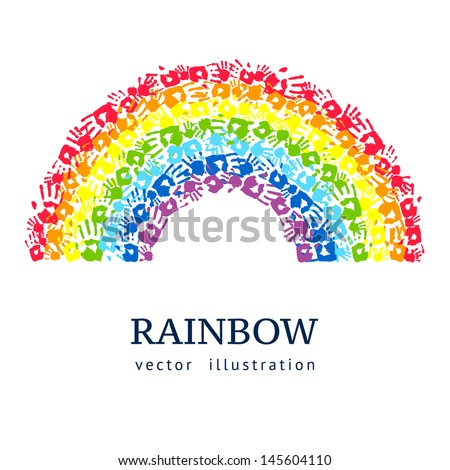 Rainbow made from hands. Abstract vector background - stock vector