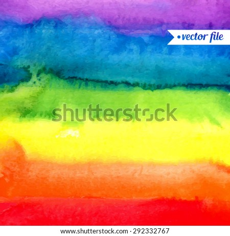 Rainbow, magic wonderful fabulous watercolor. Abstract background vector. Colorful, red, orange, yellow, green, blue, indigo, violet, purple colors. Web and mobile interface, website template
