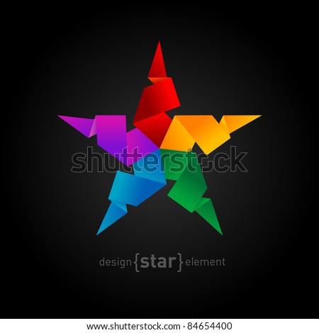 Rainbow Origami Star on black background. Company logo symbol - stock vector