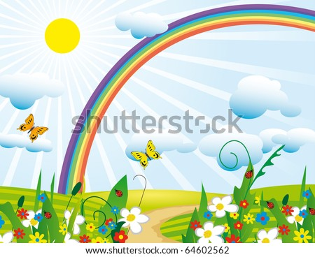 Rainbow over the flowering meadows. Vector illustration