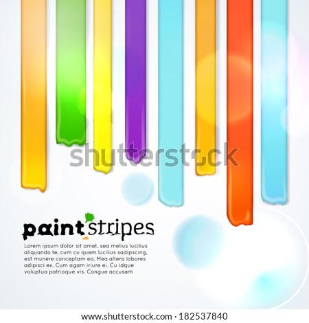 Rainbow paint stripes, vector background - stock vector