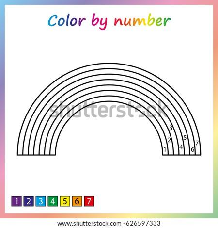 Rainbow Color By Numbers Worksheet For Preschool Rainbow