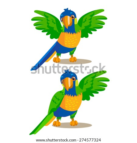 Rainbow parrot pointing or showing something with his wing. Illustrations on a white background. - stock vector