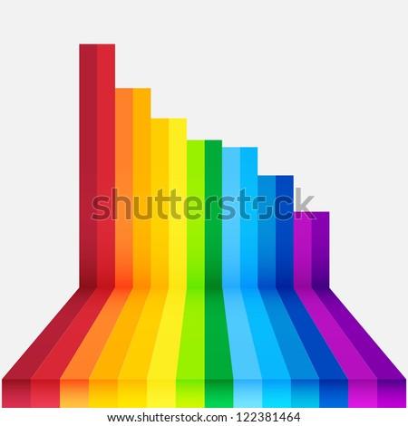 rainbow perspective background - stock vector