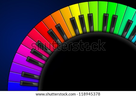 Rainbow Piano keys. Illustration on black background, for design - stock vector