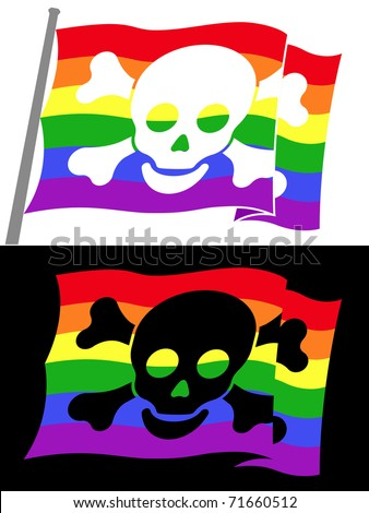 rainbow pirate flag with skull jolly roger - stock vector