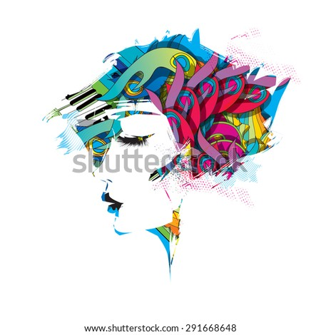 Rainbow profile of woman - stock vector
