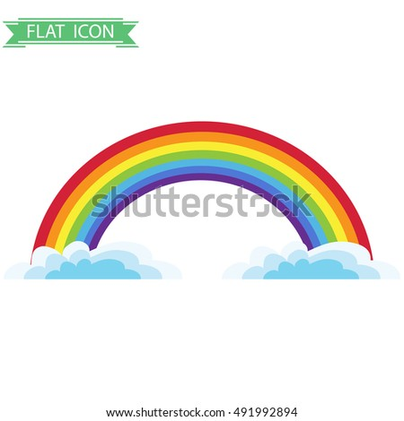 Rainbow, rainbow icon. Flat design, vector.