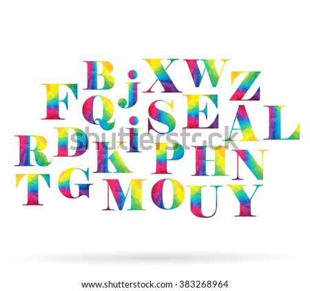 Rainbow random letters set. Polygonal alphabet collection (not complete alphabet). Vector set - stock vector