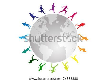 rainbow running around the world - stock vector