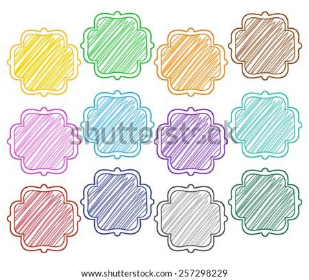rainbow scribble doodle frames quatrefoil stock vector royalty free