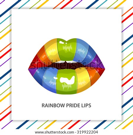 Rainbow sexy shining pride lips, lipstick,erotic open mouth, line pattern - stock vector