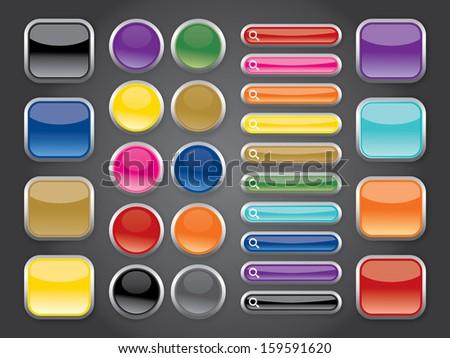 rainbow shiny buttons - stock vector