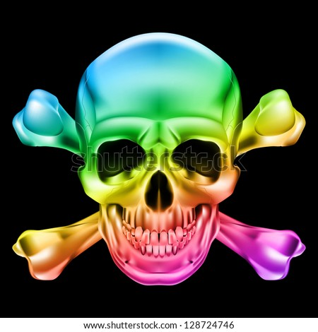 Rainbow Skull and Crossbones. Illustration on black background