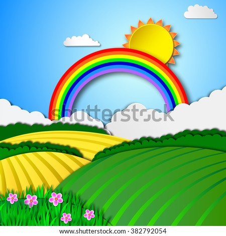 Rainbow sky and green spring meadow, vector background