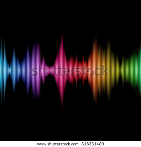 Rainbow Sound Equalizer, Colorful Musical Bar on Black Background. Vector - stock vector