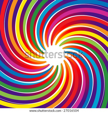 Rainbow Spiral Burst Background (Vector) - stock vector