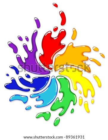 Rainbow splash with swirl. Vector illustration. - stock vector