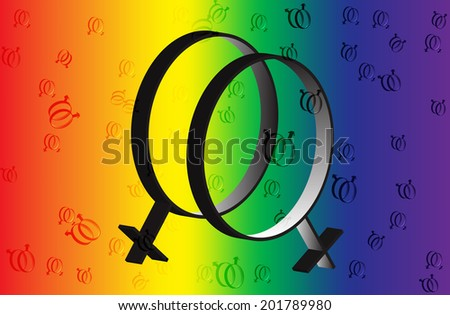 Rainbow symbol of same-sex relationships and free love