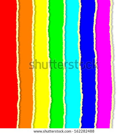 Rainbow torn papers - stock vector