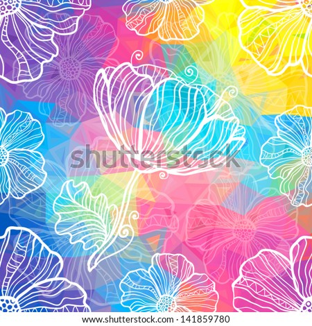 Rainbow triangles abstract vector background with white doodle flowers - stock vector