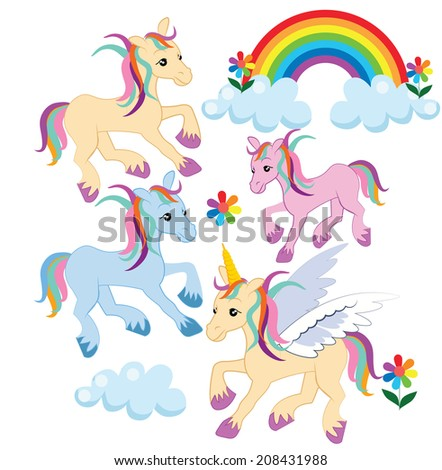 Rainbow unicorn horse pony graphics - stock vector