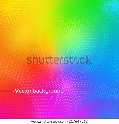 Rainbow vector background with dots. - stock vector