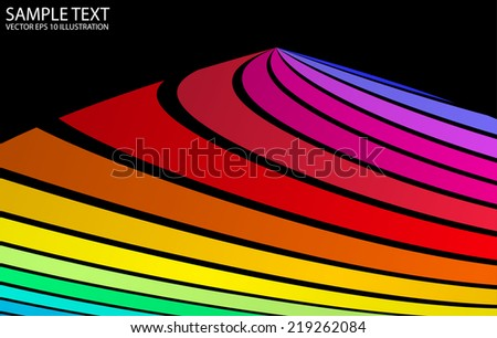 Rainbow vector colorful background template - Vector color striped background illustration - stock vector