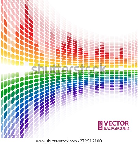 Rainbow warped digital equalizer on white background. RGB EPS 10 vector illustration