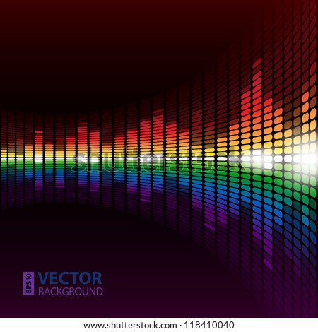 Rainbow warped digital equalizer vector background for your business presentation - stock vector