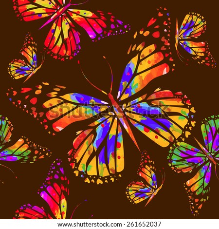rainbow watercolor background with butterflies. seamless backgro