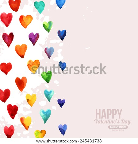 Rainbow Watercolor Happy Valentines Day Hearts. Aquarelle Holiday Vector Design. Many Rainbow Painted Hearts. Romantic Bright Lovely Design for Mothers Day. - stock vector