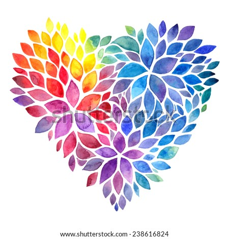 Rainbow watercolor painted petals vector heart - stock vector