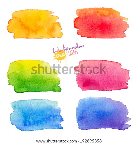 Rainbow watercolor stains set - stock vector